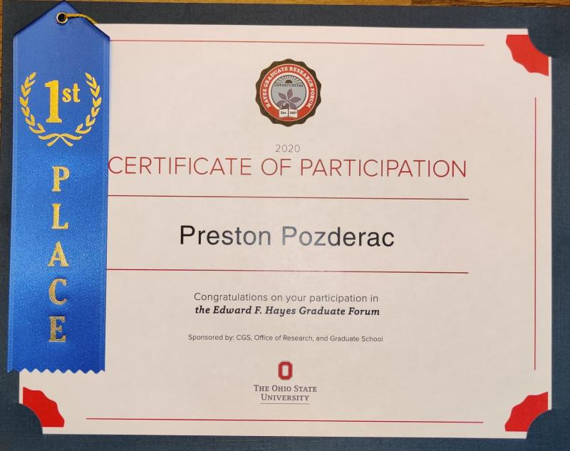 Pozderac's 1st Place Award Certificate