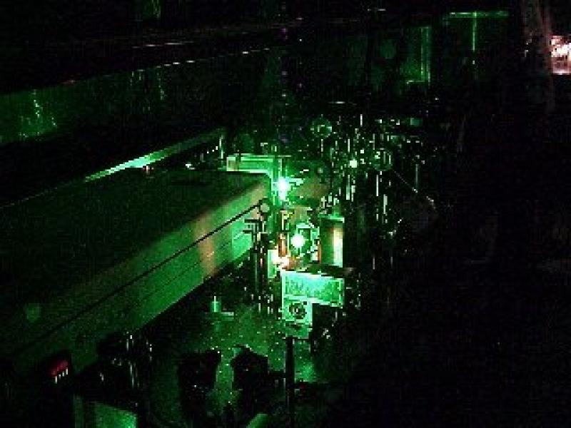 old laser system in dark room